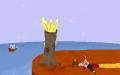 Správný adventurní konec - příjezd pirátů doprovází mrtvola (kostra) a požár.